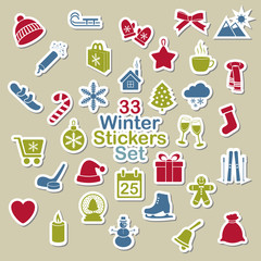 Set of winter icon stickers