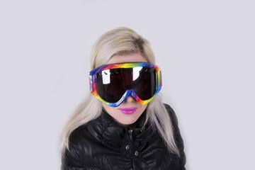 Blonde pretty Woman with ski goggles (winter, sport)