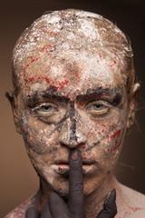 color face art women portrait with monster devil black hands.
