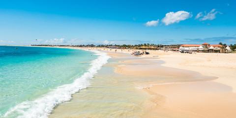 Fototapeten Blau Panoramic view of Santa Maria beach in Sal Cape Verde - Cabo Ver