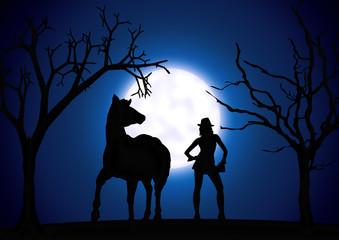 Frau mit Pferd, Bäumen, Mondlicht, Moonlight
