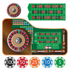roulette table and tokens