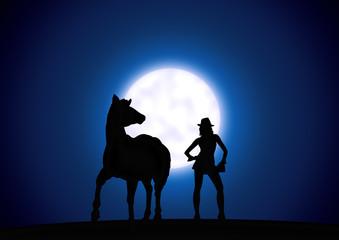 Frau mit Pferd - Mondlicht - Moonlight