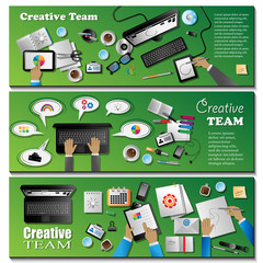 Creative Team Flyer Template Set - Vector Illustration, Graphic Design, Editable For Your Design