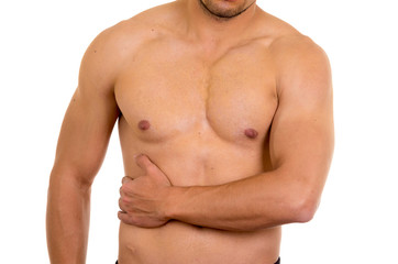 muscular shirtless man with right abdomen pain