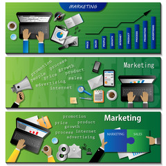 Marketing Flyer Template Set - Vector Illustration
