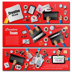 Creative Team Flyer Template - Vector Illustration