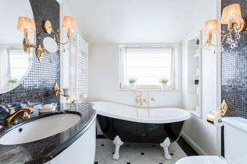 Interior of black and white bathroom