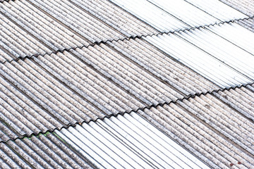 close up of gray and white roof texture