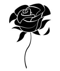 Black Silhoutte of Rose Vector Illustration
