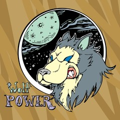 Wolf head with galaxy cartoon paint logo vector