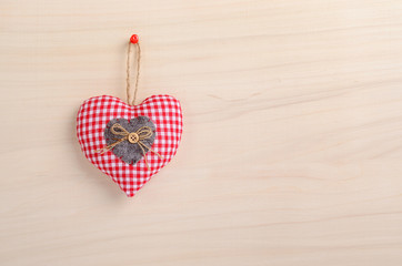Love symbols on wooden background