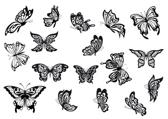 Set of black and white vector butterflies