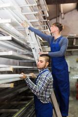 Production workmen with different PVC