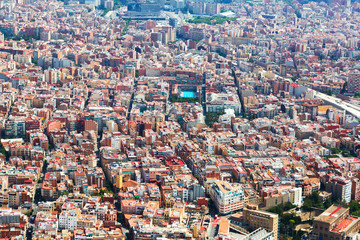 Sants-Montjuic residential district from helicopter. Barcelona
