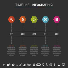 infographics timeline template with polygons and icons. Vector