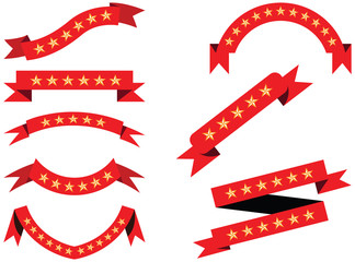 Vector Set of red ribbon banners for labels with stars.