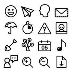 website navigation menu black line, stroke icons