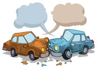 Car crash, with speech bubbles