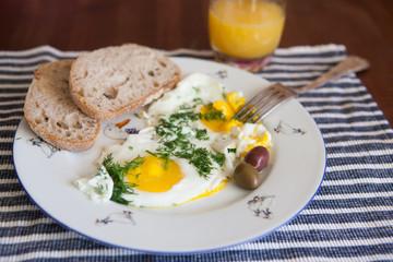 Eggs for breakfast and orange juice