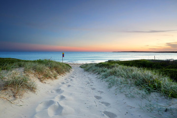 Printed kitchen splashbacks Australia Sandy beach trail at dusk sundown Australia