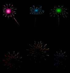 Set colorful fireworks on dark background
