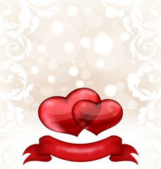 Valentine's day or wedding invitation with hearts