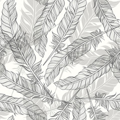 Seamless pattern with feathers. Hand-drawn monochrome vector bac