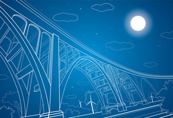 Vector big bridge, arch bridge, vector lines art