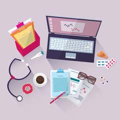 Vector Medical workplace. Flat design