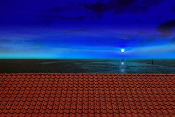 Roof of a farmhouse in the night with moon and sea