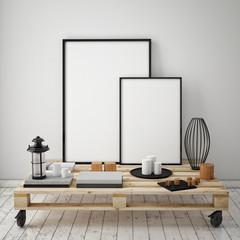 mock up poster frames with vintage loft interior background