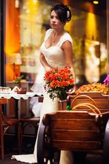 bride in a flower shop