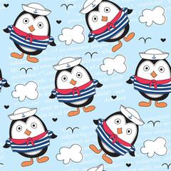 little sailor penguin pattern vector illustration
