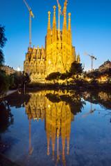 The famous Sagrada Familia in Barcelona at dawn