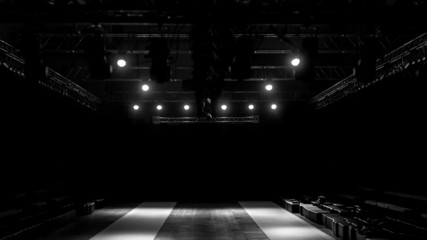 Fashion show stage, empty runway show stage.