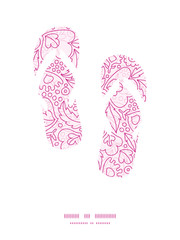 Vector pink flowers lineart flip flops silhouettes pattern frame