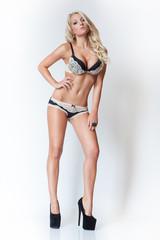 fashion attractive blonde slim girl in lingerie