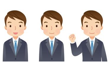 スーツを着た男性 ビジネスマン 表情セット