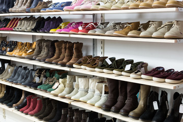 store with wintry  shoes