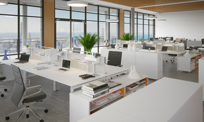 schickes Büro in Hochhaus - open space office in skyscraper