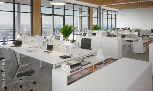 schickes b ro in hochhaus open space office in. Black Bedroom Furniture Sets. Home Design Ideas