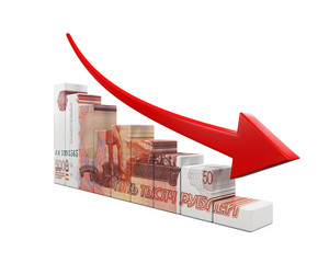 Russian Ruble and Red Arrow
