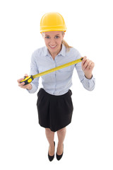 young business woman, architect or designer in builder helmet wi