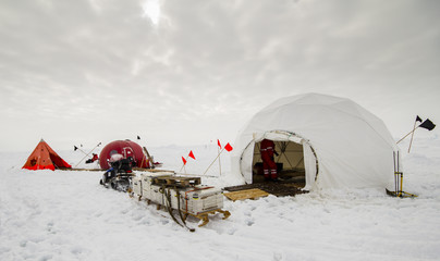 Dive camp of a polar research expedition