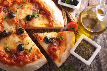 pizza with cheese and olive