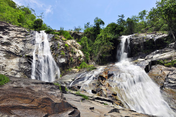 Big Waterfall in deep forest, Thailand