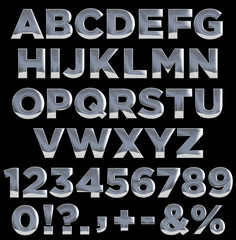 Metal letters and numbers alphabet