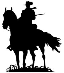 Silhouette of a cowboy isolated on white background.