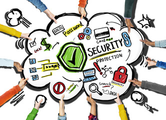 Diversity Hands Security Protection Information Concept